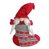 "14.5"" Red and Gray ""Isolde"" Gnome in Christmas Stocking Tabletop Decoration"