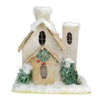 "9.25"" Snow Covered Church with Shrubs Christmas Tabletop Decoration"