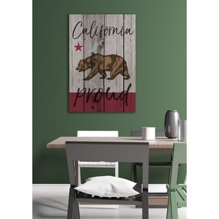 California Proud Typography Stretched Canvas Wall Art