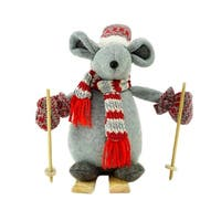 """11.75"""" Adventurous Skiing Mouse Christmas Tabletop Decoration"""