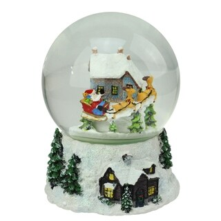 "6.75"" Musical and Animated Christmas Winter Scene Rotating Snow Globe Glitterdome"