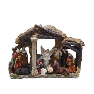 11-Piece Traditional Religious Christmas Nativity Figure Set with Stable House 18.8""