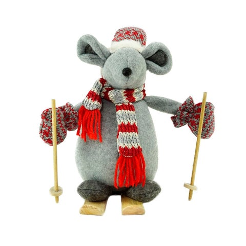 "14.75"" Adventurous Skiing Mouse Christmas Tabletop Decoration"