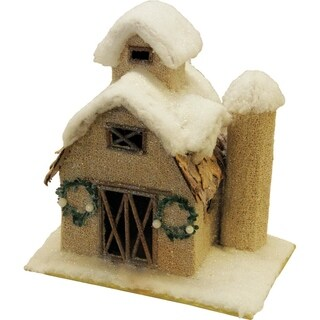 "12"" Snow Covered Barn with Wreaths Christmas Tabletop Decoration"