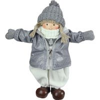 """12"""" Gray and White Cheerful Standing Girl Christmas Tabletop Decoration"""