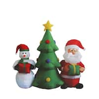 5' Inflatable Christmas Tree with Santa Claus and Snowman Lighted Christmas Yard Art Decoration