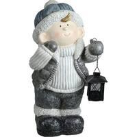 "18.5"" Snowy Woodlands Little Boy Holding Tea Light Lantern Decorative Christmas Tabletop Figure"