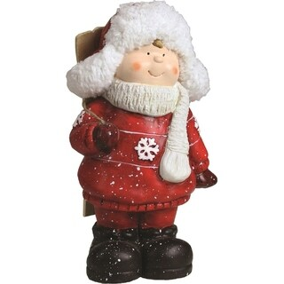 """11"""" Christmas Morning Red & White Terracotta Boy with Skis Decorative Christmas Tabletop Figure"""