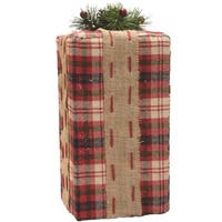 "14.5"" Rectangular Red  Brown and Green Plaid Gift Box with Pine Bow Table Top Christmas Decoration"