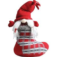 """10"""" Red and Gray """"Isolde"""" Gnome in Christmas Stocking Tabletop Decoration"""