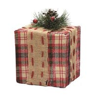 "6.25"" Square Red  Brown and Green Plaid Gift Box with Pine Bow Table Top Christmas Decoration"