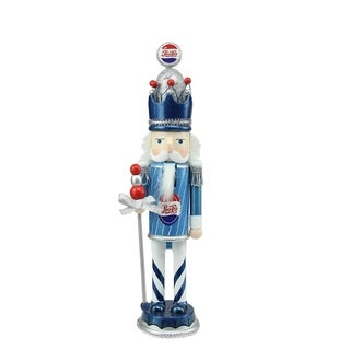 "12"" Decorative Blue White and Silver Wooden ""Pepsi"" King Christmas Nutcracker"