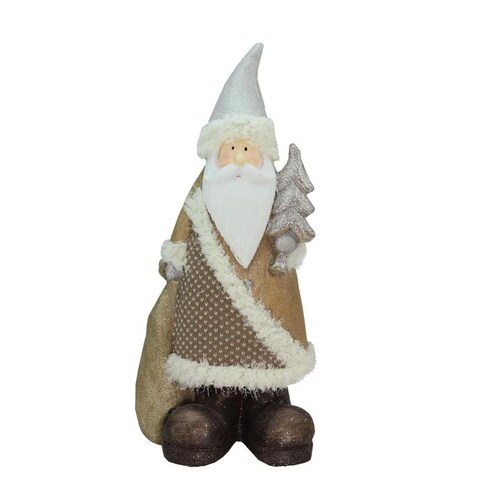 """18.50"""" Brown Eco-Friendly Santa Claus with Christmas Tree Decorative Christmas Tabletop Figure"""