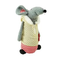 "12"" Standing Mouse with Beige Hooded Coat Christmas Tabletop Decoration"
