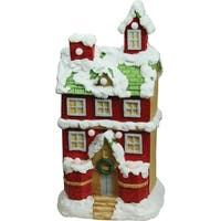 "21.25"" Christmas Morning Pre-Lit LED Snow Covered 2 Story House Decorative Christmas Tabletop Figure"