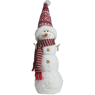 """21.5"""" Snowman with Red and Gray Striped Scarf Christmas Tabletop Decoration"""