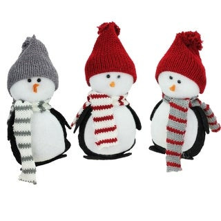 Set of 3 Charming Holiday Penguin Christmas Tabletop Decorations 6""