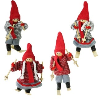 Set of 4 Colorful Holiday Ski Dolls Christmas Tabletop Decorations 3.5""
