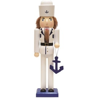 """15"""" Decorative White and Blue U.S. Navy Sailor with Anchor Wooden Christmas Nutcracker"""