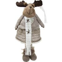 "20"" Gray and Brown Standing Girl Moose Decorative Christmas Tabletop Figure"