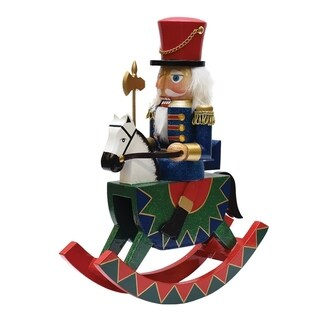 """14"""" Decorative Wooden Green Red and Blue Christmas Nutcracker Soldier on Rocking Horse"""