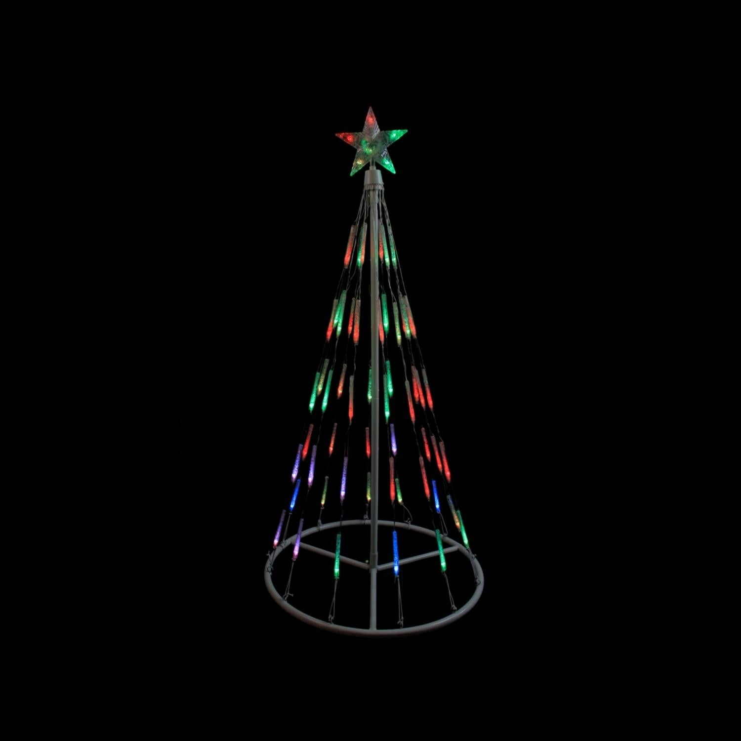 4' White Single Tier Bubble Cone Christmas Tree Lighted Y...