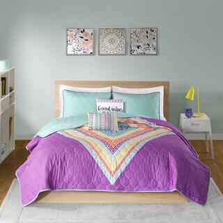 Intelligent Design Presley Purple Printed Quilted 5-piece Coverlet Set