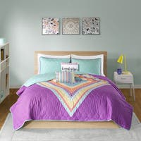 Intelligent Design Presley Purple Printed Quilted 5-piece Coverlet Set
