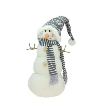 """27"""" Snowman with Gray and White Hat Christmas Tabletop Decoration"""