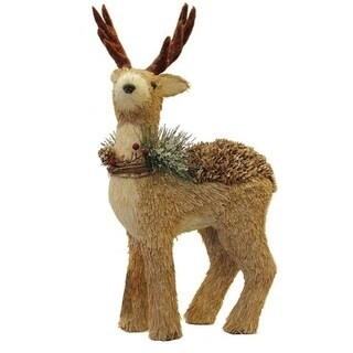 """16"""" Shimmering Reindeer Wearing Frosted Wreath Christmas Decoration"""