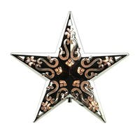 """8"""" Lighted Silver Cut-Out Design Decorative Star Christmas Tree Topper - Clear Lights"""