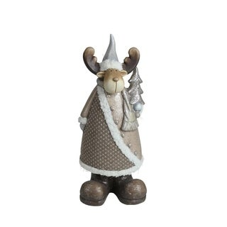 "15.75"" Brown Eco-Friendly Reindeer with Christmas Tree Decorative Christmas Tabletop Figure"