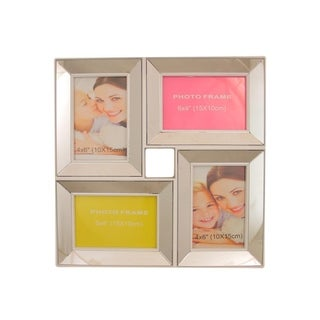 "13.75"" White Trimmed Glass Encased Photo Picture Frame Collage Wall Decoration"