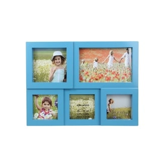 """11.5"""" Blue Multi-Sized Puzzled Photo Picture Frame Collage Wall Decoration"""