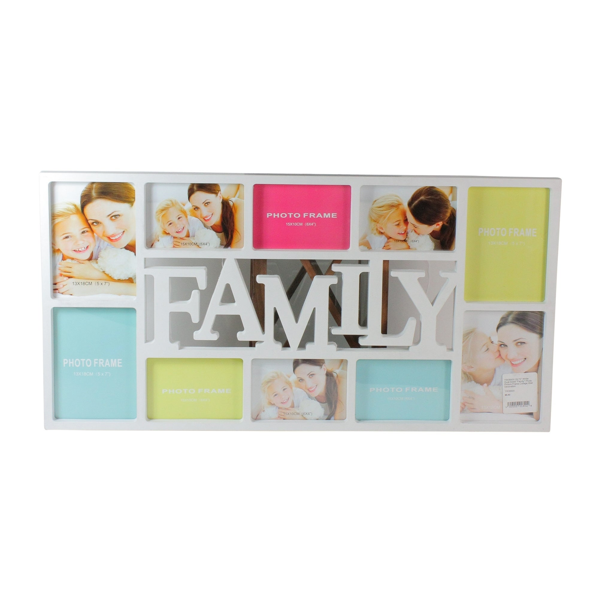 """28.75"""" White Dual-Sized """"Family"""" Photo Picture Frame Coll..."""