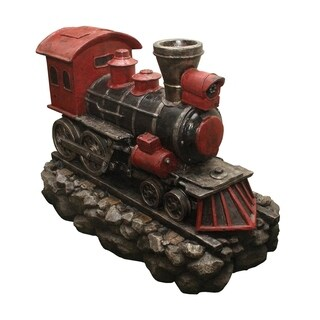 "38"" LED Lighted Red and Black Vintage Locomotive Train Spring Outdoor Garden Water Fountain"