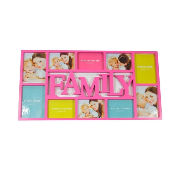 "28.75"" Pink Dual-Sized ""Family"" Photo Picture Frame Collage Wall Decoration"