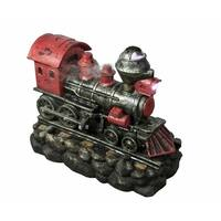 "27.5"" LED Lighted Red and Black Vintage Locomotive Train Spring Outdoor Garden Water Fountain"