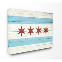 Chicago Flag Distressed Wood Look Stretched Canvas Wall Art
