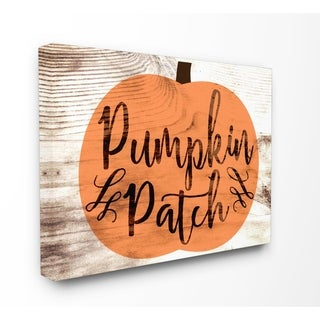 Pumpkin Patch Halloween Typography Stretched Canvas Wall Art