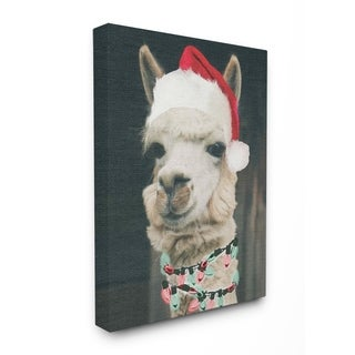 Christmas Llama Stretched Canvas Wall Art