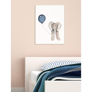 Baby Elephant with Blue Balloon Stretched Canvas Wall Art (2 options available)