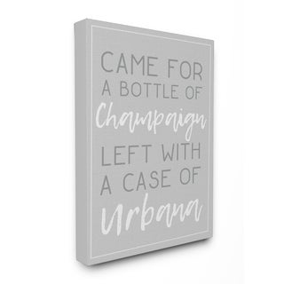 Champaign Urbana Light Grey Typography Stretched Canvas Wall Art