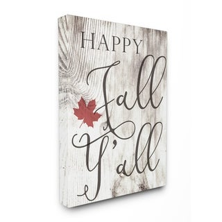 Happy Fall Y'all Typography Sign Stretched Canvas Wall Art