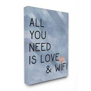 All You Need is Love and WiFi Blue Typography Stretched Canvas Art