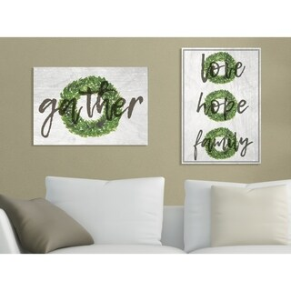 Gather Boxwood Wreath Typography Stretched Canvas Wall Art
