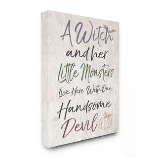 A Witch, Little Monsters, and a Handsome Devil Stretched Canvas Art