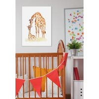 Giraffe Family Illustration Stretched Canvas Wall Art