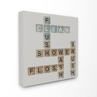 Scrabble Bathroom Illustration Stretched Canvas Wall Art