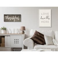 Love Dwells Here Typography Stretched Canvas Wall Art